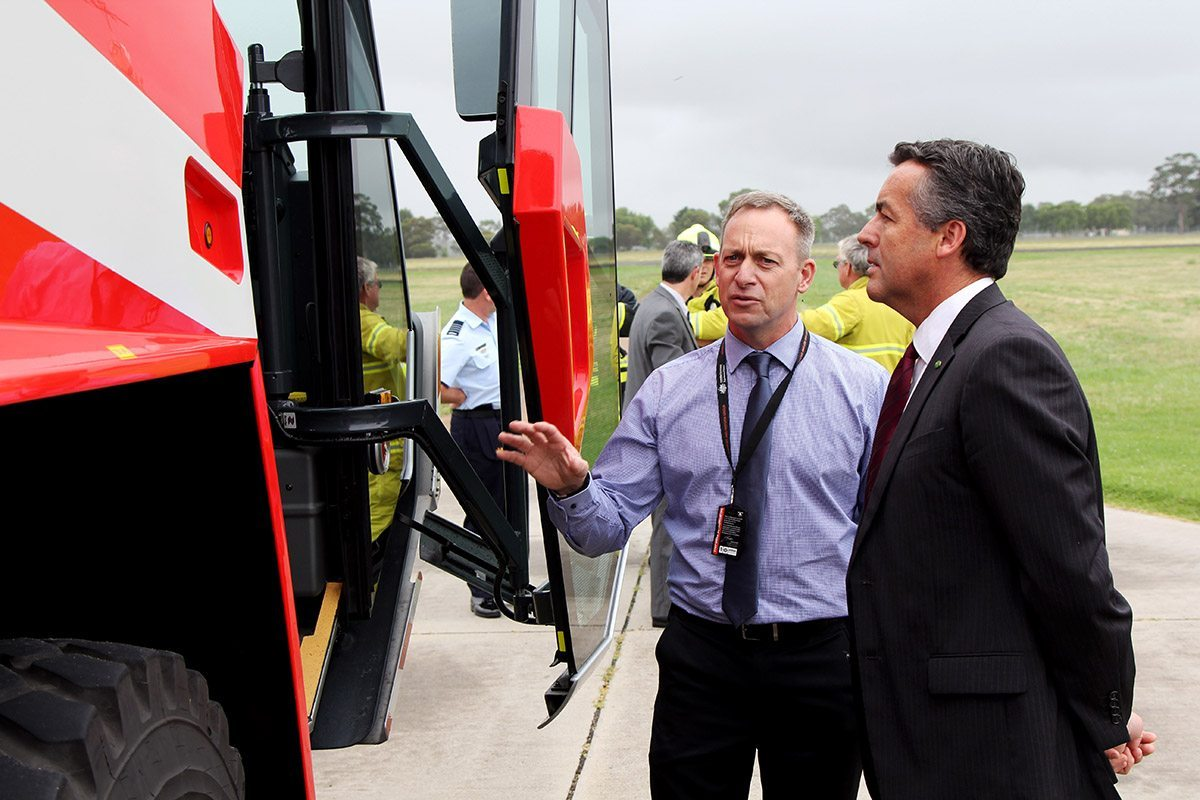 Federal Member for Gippsland inspects the new fire truck at RAAF Base East Sale